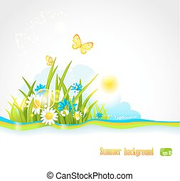Summer natural background - Sunny summer background with...