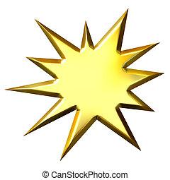 3D Golden Starburst - 3d golden starburst isolated in white