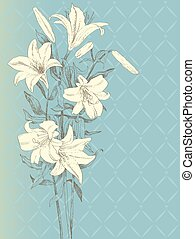 Lily flower - Vintage background with lily flower