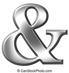 3D Silver Ampersand - 3d silver ampersand isolated in white