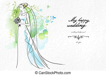 Wedding watercolor background with a flowering branch -...