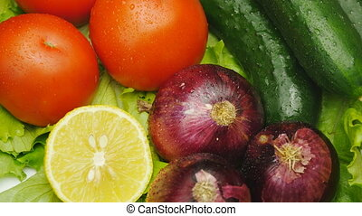 Assortment of fresh vegetables close up rotate - Assortment...