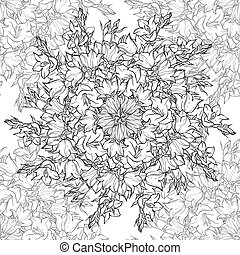 Seamless pattern with hand drawn bellflowers - Seamless...