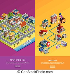 Isometric City Banners - Isometric city banners with town by...