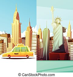 New York Two Vertical Banners - New york two vertical...