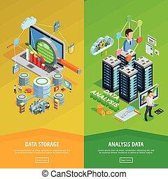 Data Analysis 2 vertical Isometric Banners - Big data...