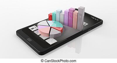 3d rendering bar and pie charts on a smart phone