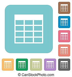Flat Spreadsheet table icons on rounded square color...