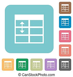 Flat Spreadsheet adjust table row height icons on rounded...