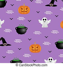 Halloween pattern on a purple background, background design...