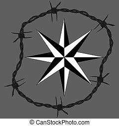 Barbed wire circle frame windrose navigation symbol. Vector...
