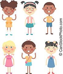 Different kids vector illustration. - Group of school kids...