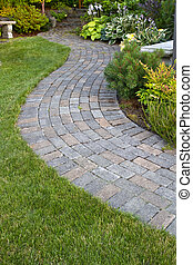 Garden Path - Garden Landscape with walking paver path,...