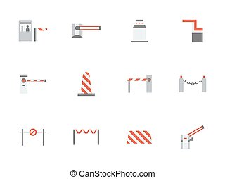Road barricades flat color vector icons set - Different...