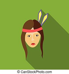 Girl american indians icon, flat style