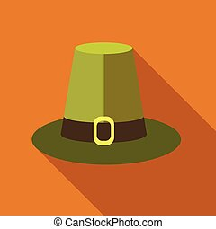 Pilgrim hat icon, flat style - Pilgrim hat icon in flat...