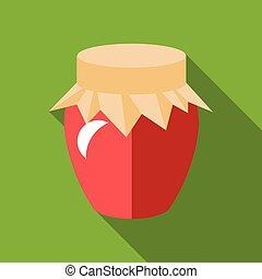 Jar of jam icon, flat style
