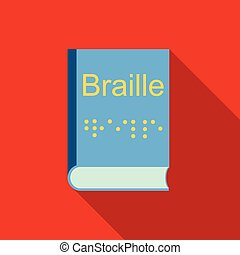 Blindness, Braille writing system icon, flat style -...