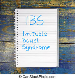 ibs-, síndrome, intestino, escrito, cuaderno,  irritable