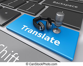 3d Word translate with mic and headphones on computer...