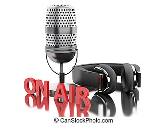 3d On air word with a microphone and headphones. - 3d...