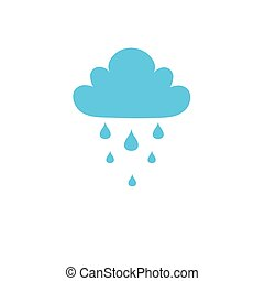 Blue Cloud Rain icon isolated on background. Weather,...