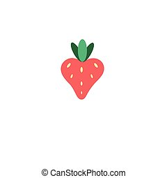 Red Strawberry icon, isolated background. Modern simple flat...