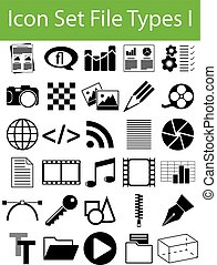 Icon Set File Types I with 30 icons for the creative use in...
