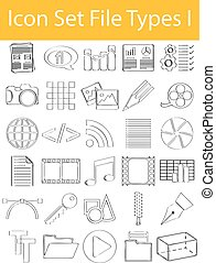 Drawn Doodle Lined Icon Set File Types I with 30 icons for...