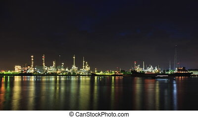 Bangchak Petroleum's oil refinery at Bangkok , Thailand -...