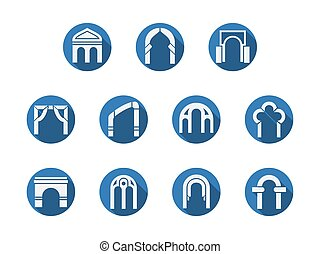 Arched gateways round blue vector icons set - White...
