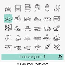 Set of transportation icons. - Various means of...