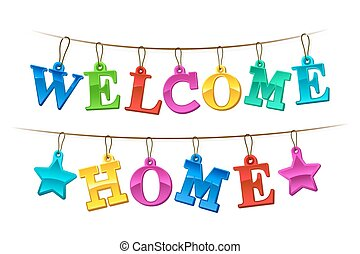 Colorful Welcome Home banner with tags - Colorful Welcome...