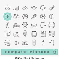 Set of line icons for computer interface.
