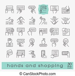 Hands holding messages. Hand gestures. - Set of flat line...