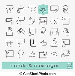 Hands holding messages. Hand gestures. - Collection of hands...