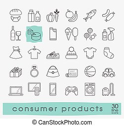 Set of shopping icons. - Various shopping products. Premium...