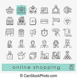 Set of e-commerce icons. - Various shopping icons. Premium...