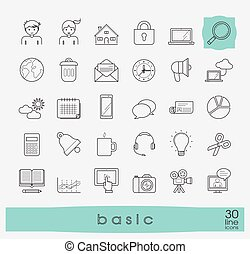 Collection of flat line universal icons. - Line basic icons...
