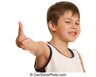 All right! - A smiling boy is showing his tumb up; isolated...
