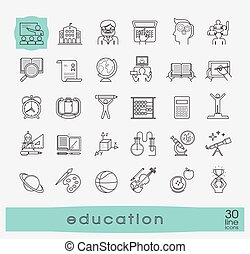 Collection od educational icons. - icons of school and...