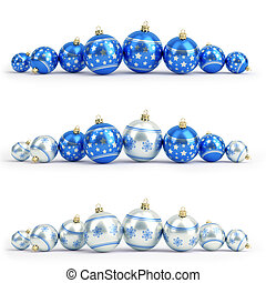 Collection of blue and silver christmas balls. White isolated. 3D render
