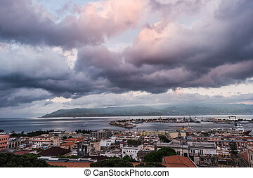 The Port of Messina in Sicily - Sunset in the Port of...