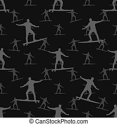 Surfing Seamless Pattern - Conversational style surfer motif...
