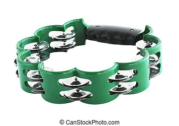 tambourine - One green tambourine isolated on white...
