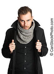 Fashionable man in scarf - Trendy man wearing a black...