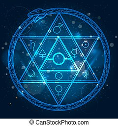 Star of David and uroboros sign - Mystical astrological sign...