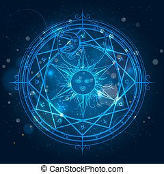Alchemy magic circle on blue background - Alchemy magic...