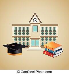 Books graduation cap and building design