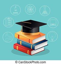 Books graduation cap and icon set design